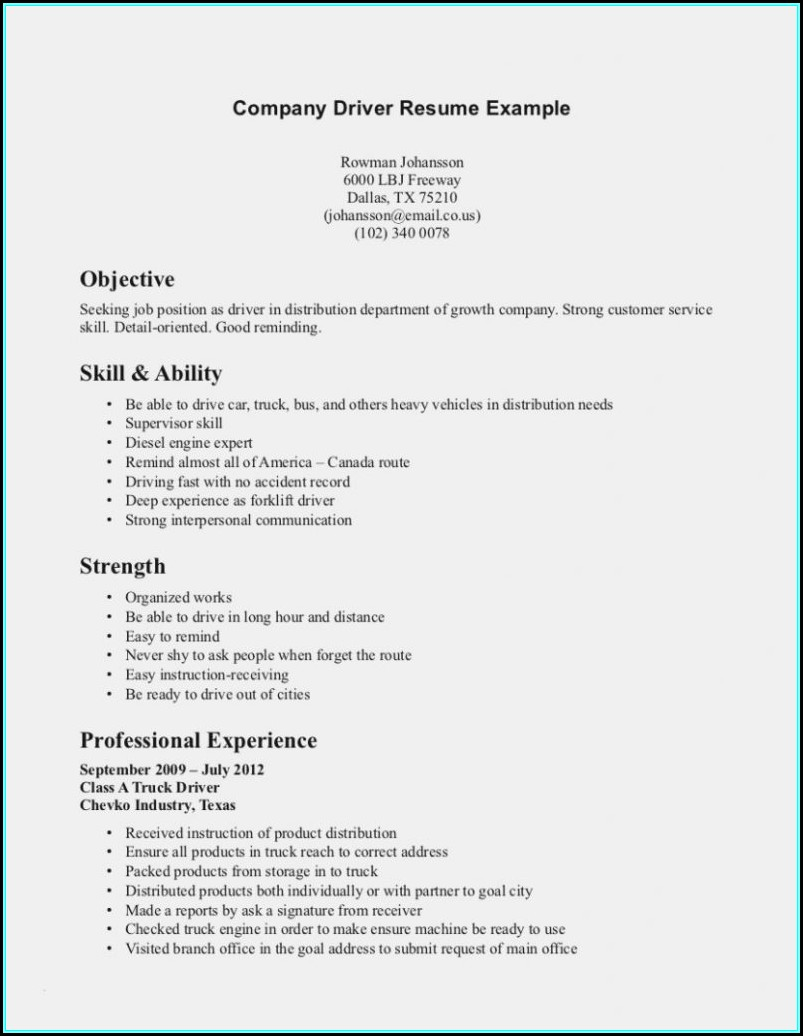 Resume For Cdl Truck Driver