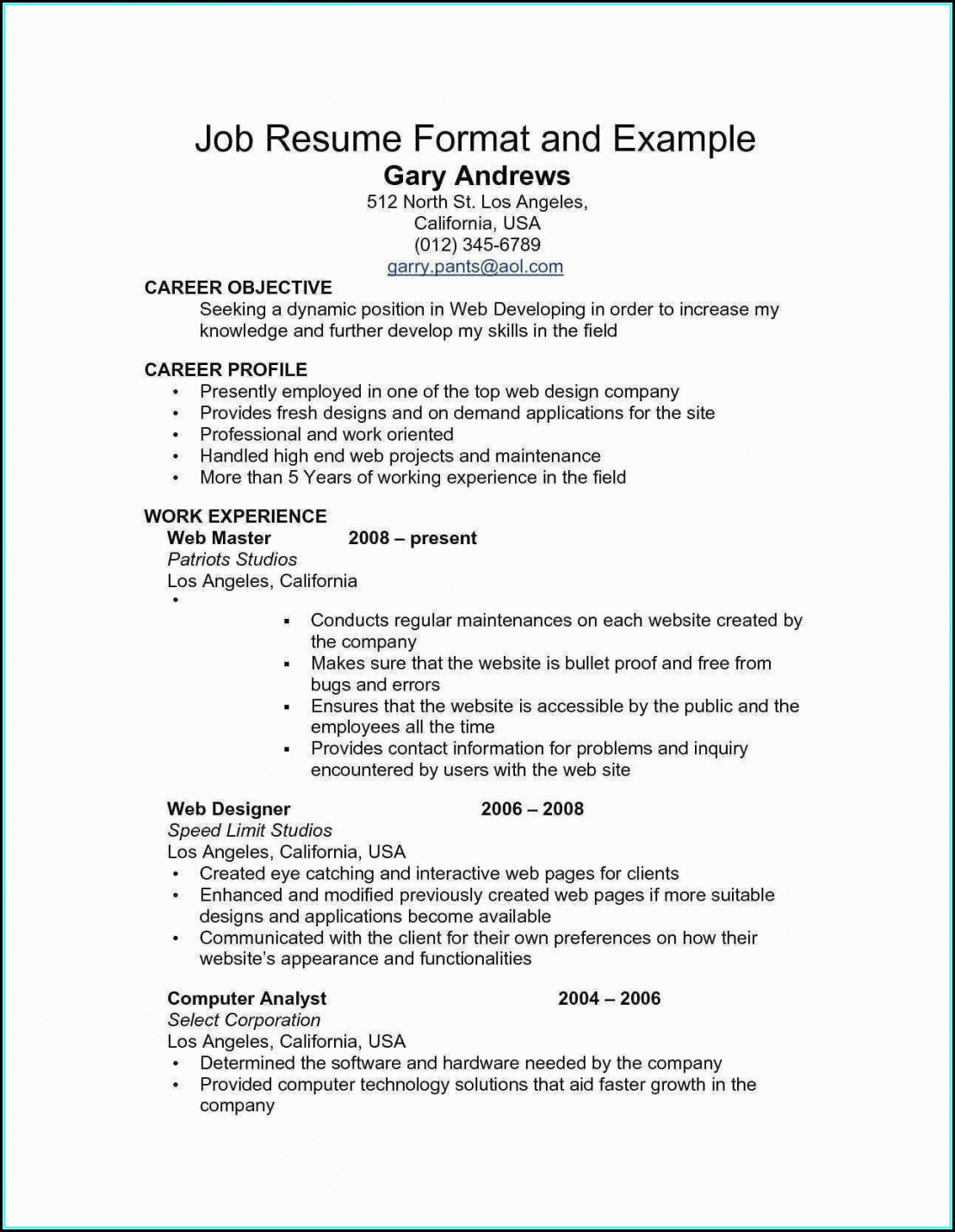 Resume For Federal Jobs