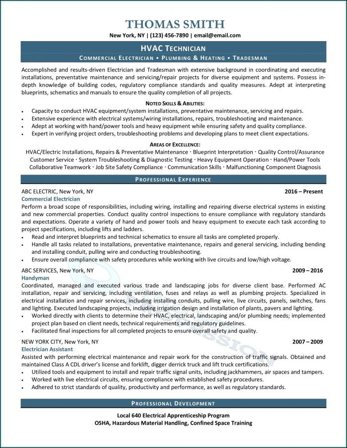 Resume For Hvac