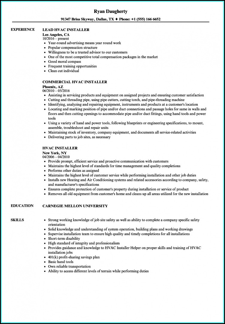 Resume For Hvac Installer
