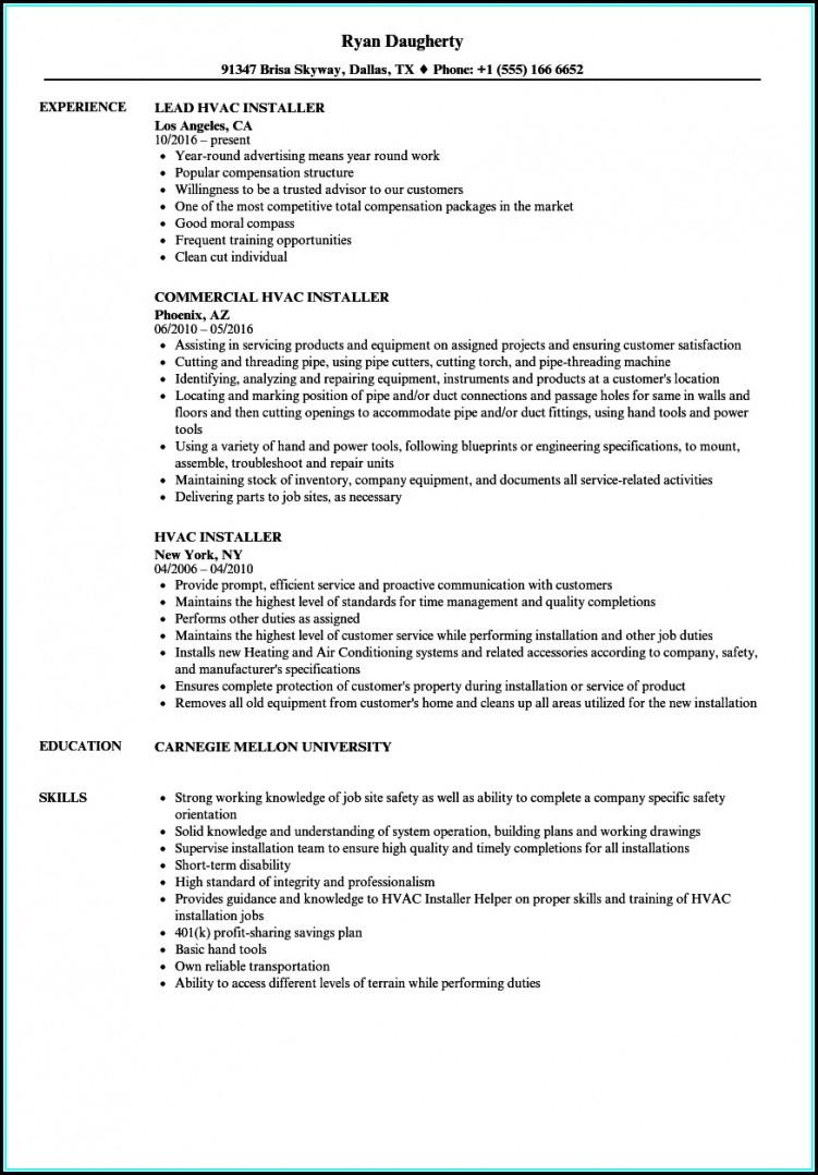 Resume For Hvac Installer