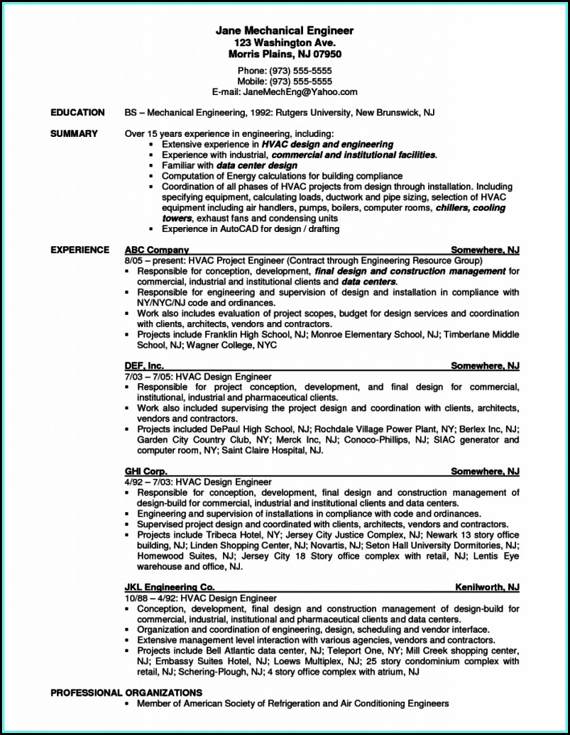 Resume For Hvac Mechanical Engineer