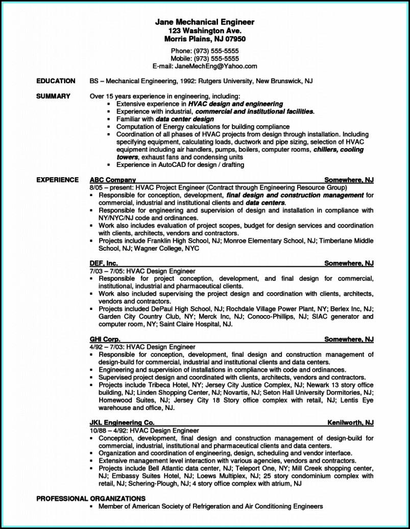 Resume For Hvac Mechanical Engineer
