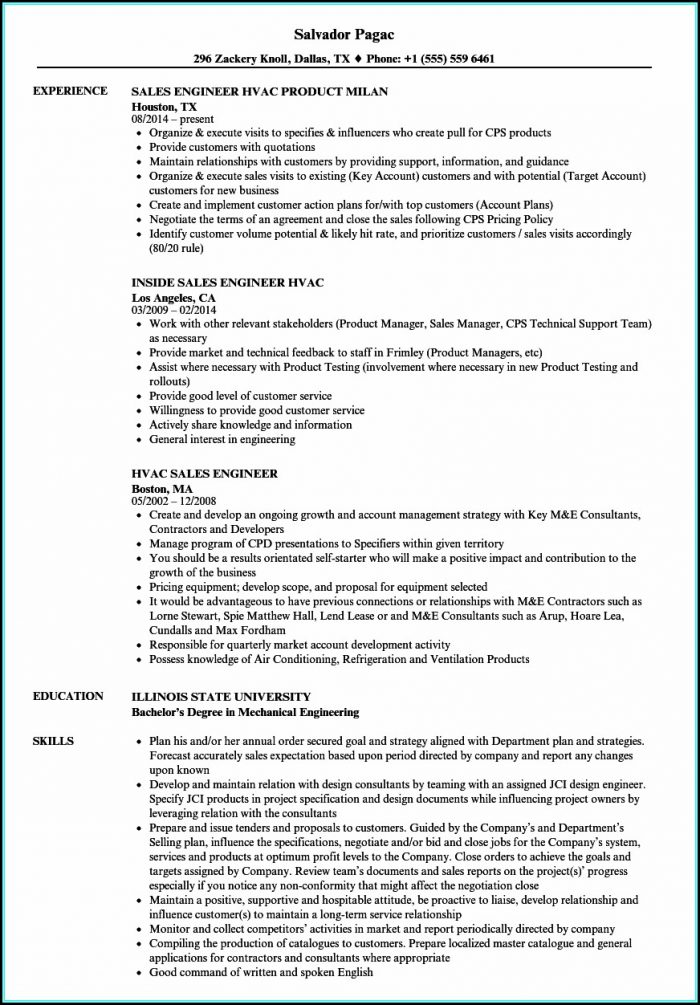 Resume For Hvac Sales