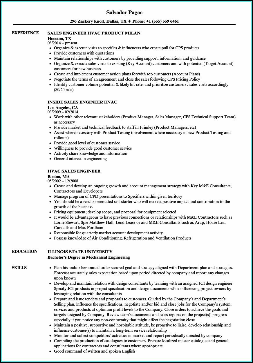 Resume For Hvac Sales