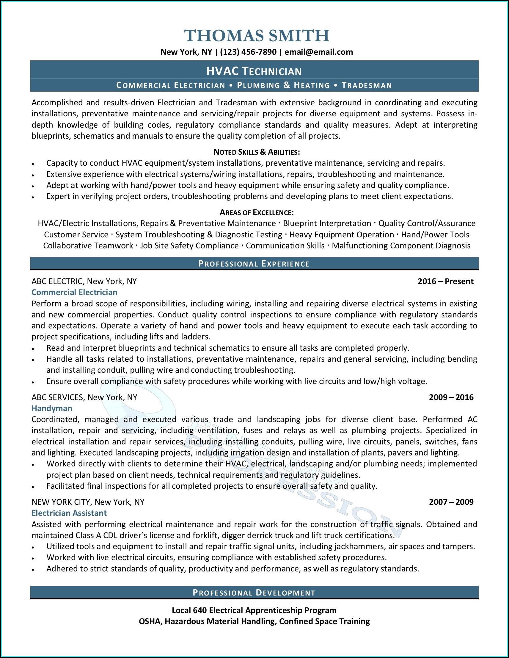 Resume For Hvac