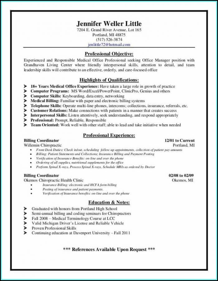 Resume For Medical Coding And Billing