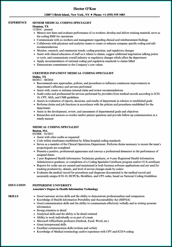Resume For Medical Coding