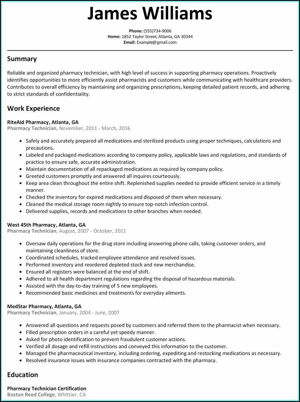 Resume For Pharmacy Technician In Hospital