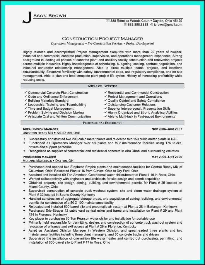 Resume Of A Building Construction Worker