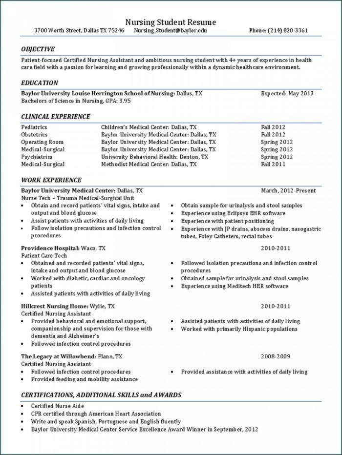 Resume Sample For Nursing Student