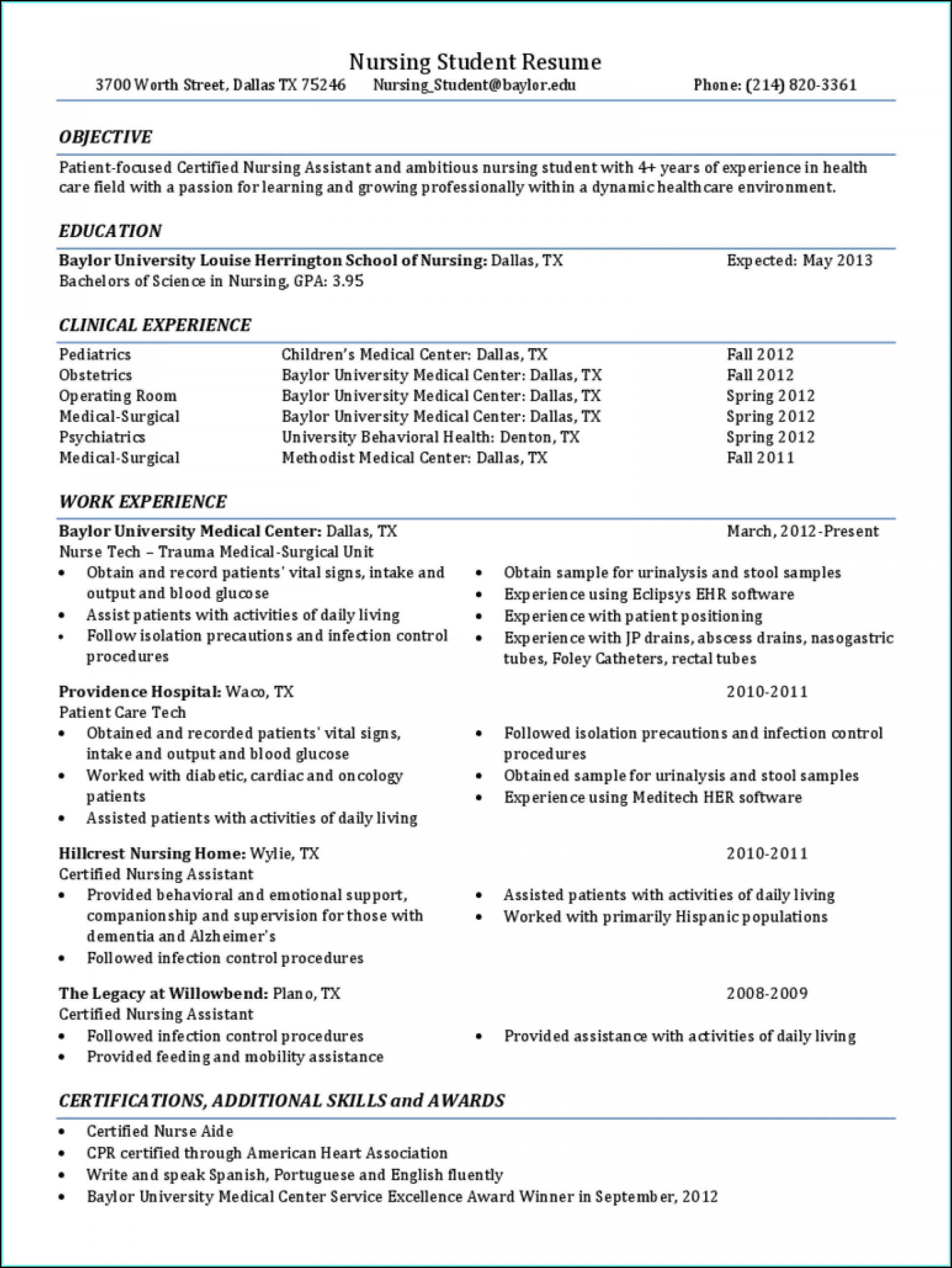 Resume Sample For Nursing Student
