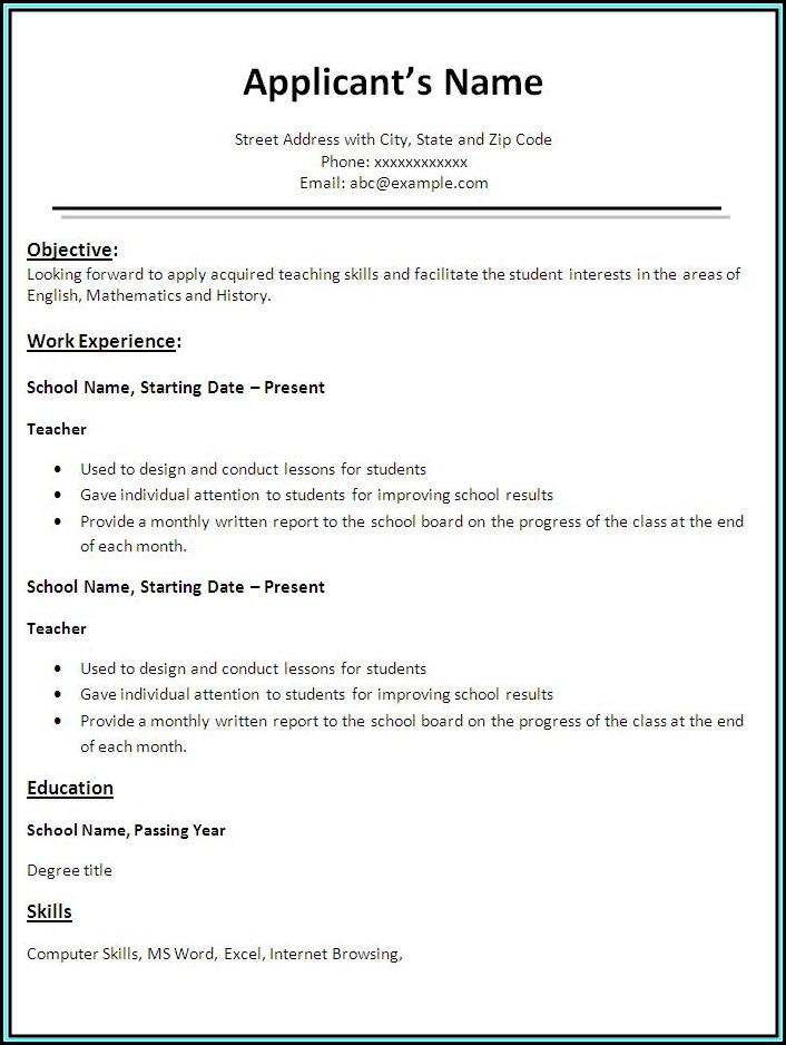 Resume Teacher Template Free