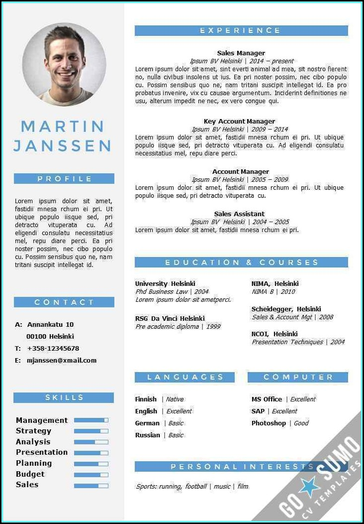 Resume Template Editable In Word