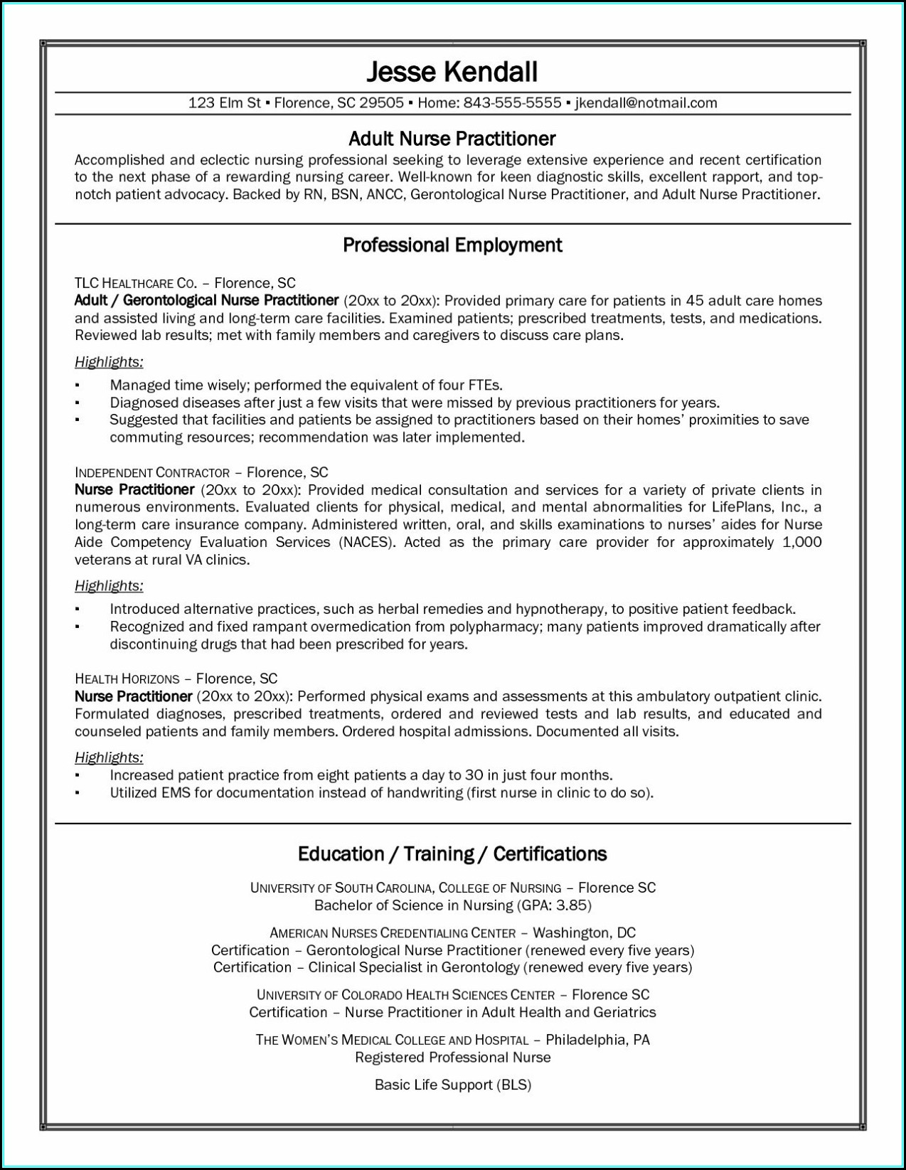 Resume Template For A Registered Nurse