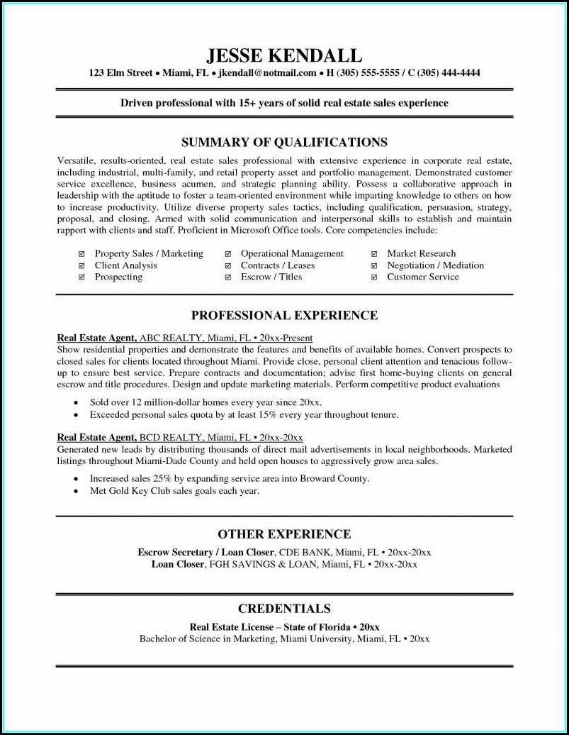 Resume Template For Real Estate Agents
