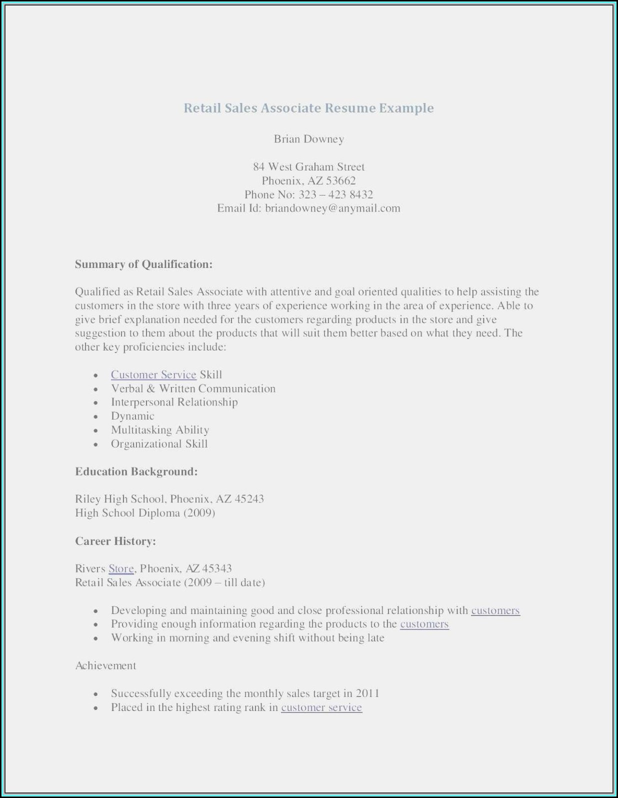 Resume Template For Sales