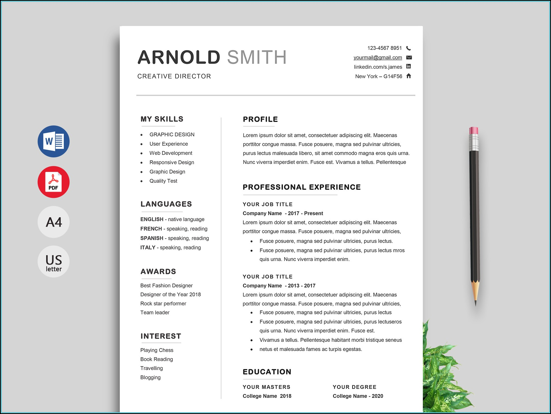 Resume Template Free Word Doc