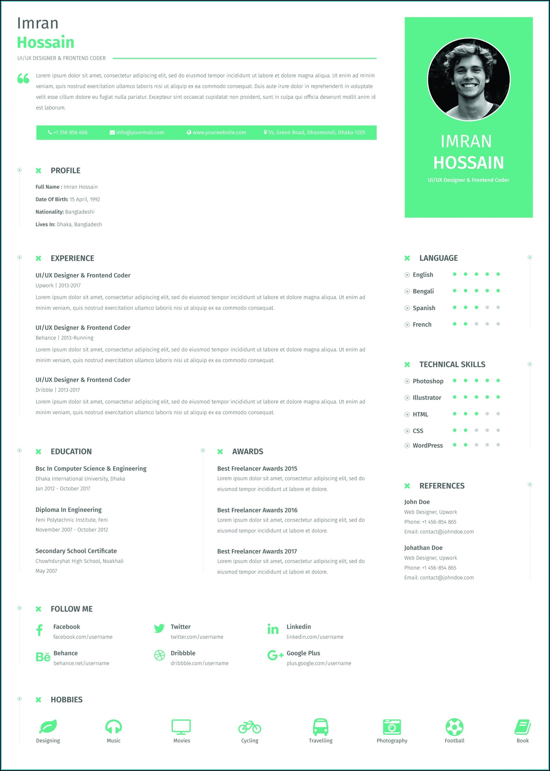 Resume Template Word Free Download 2017