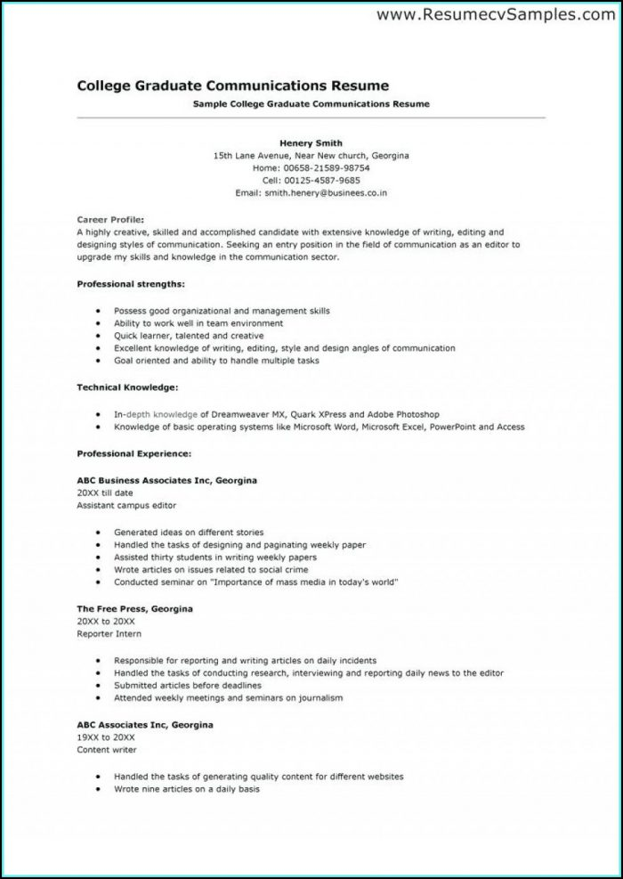 Resume Templates For College Applications