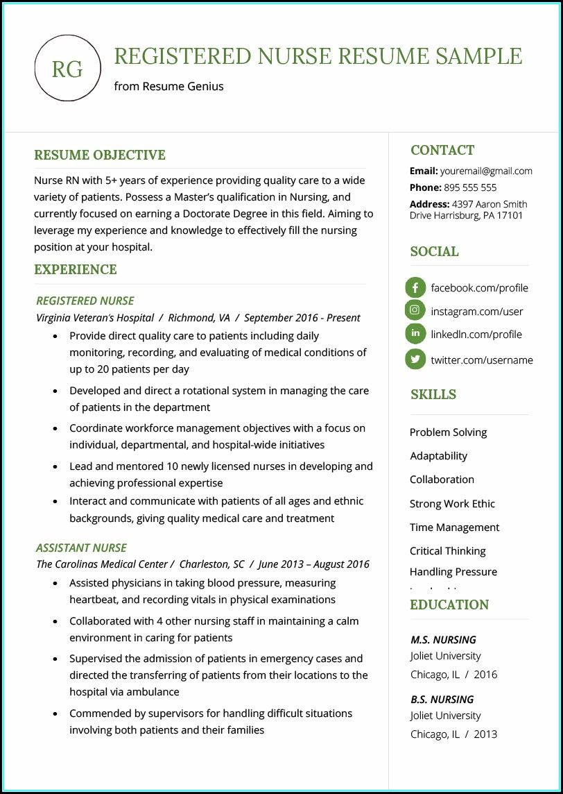 Resume Templates For Rn's Free