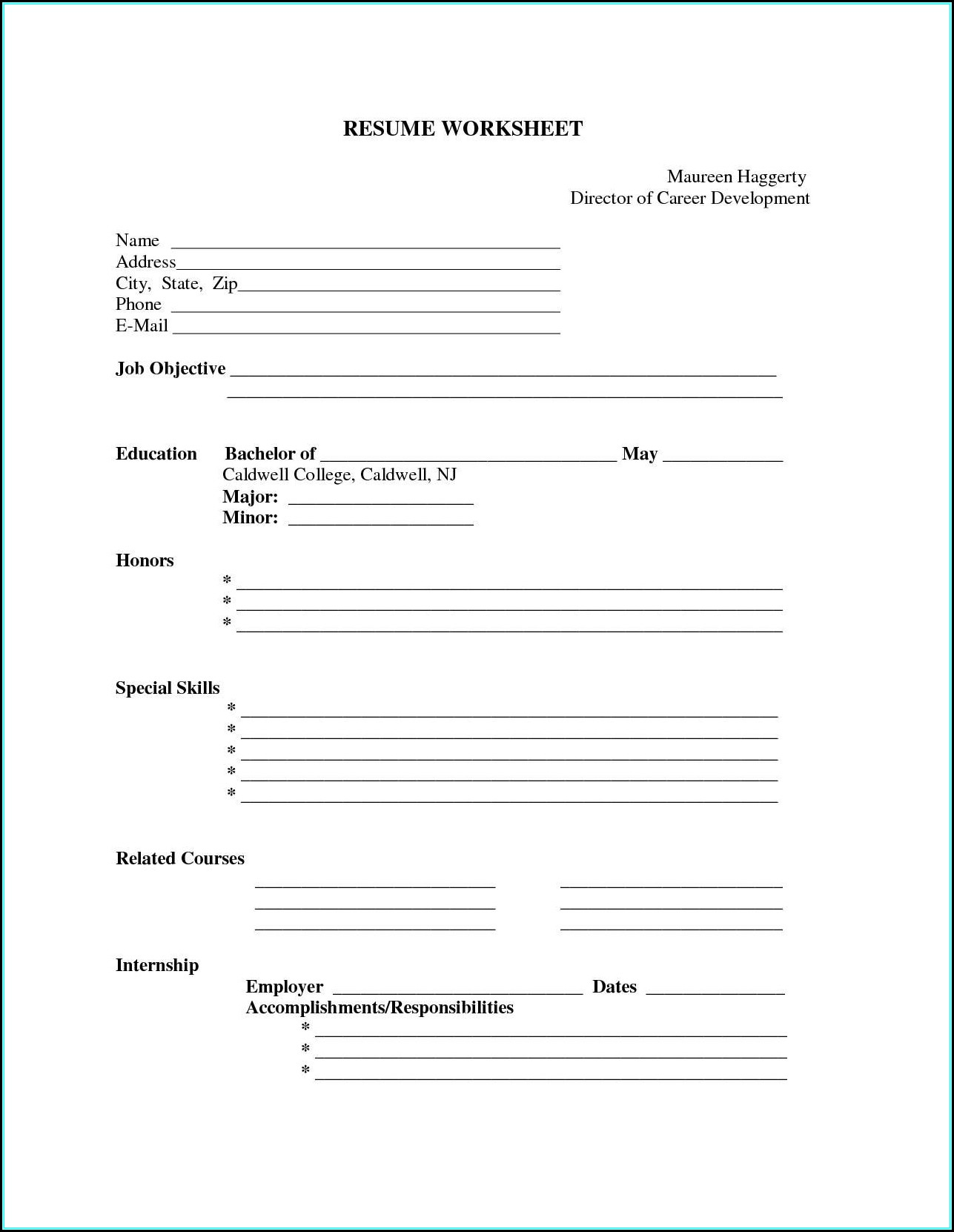 Resume Templates Printable Free