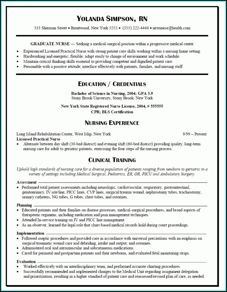 Resume Templates Rn