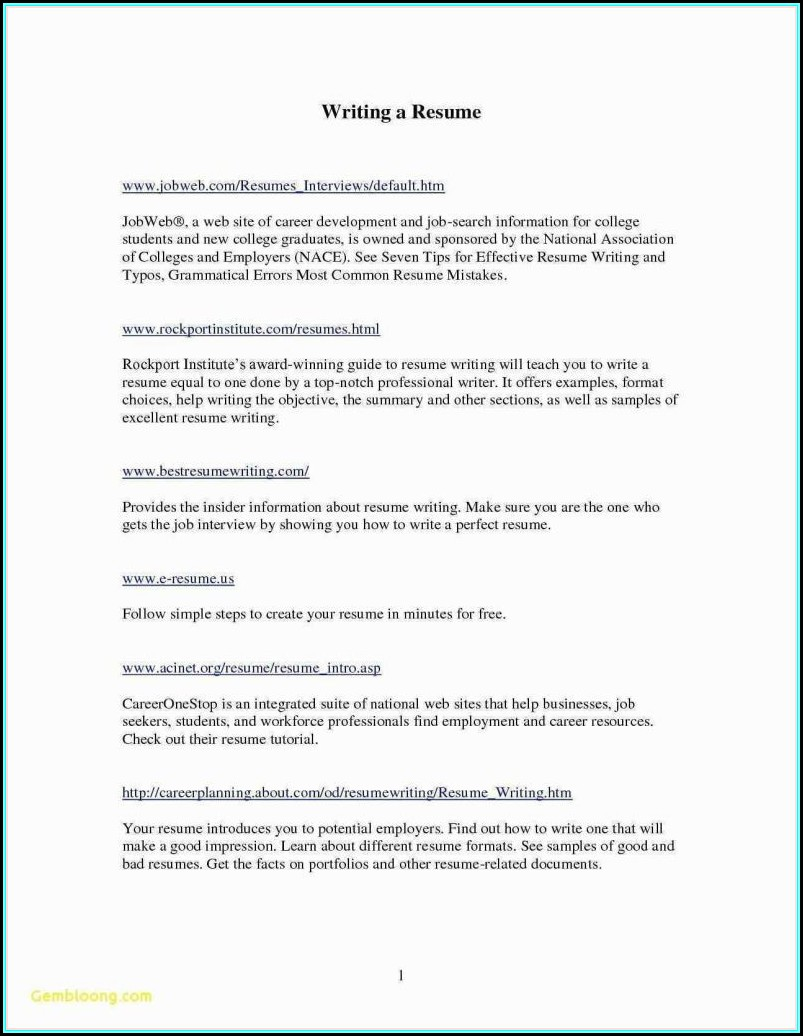 Resume Writing Format For College Students