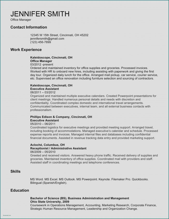 Resumes Templates For Word