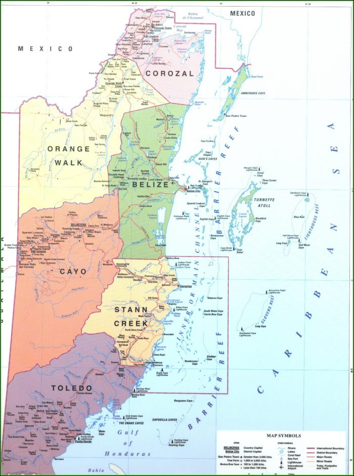 Road Map Of Belize Central America