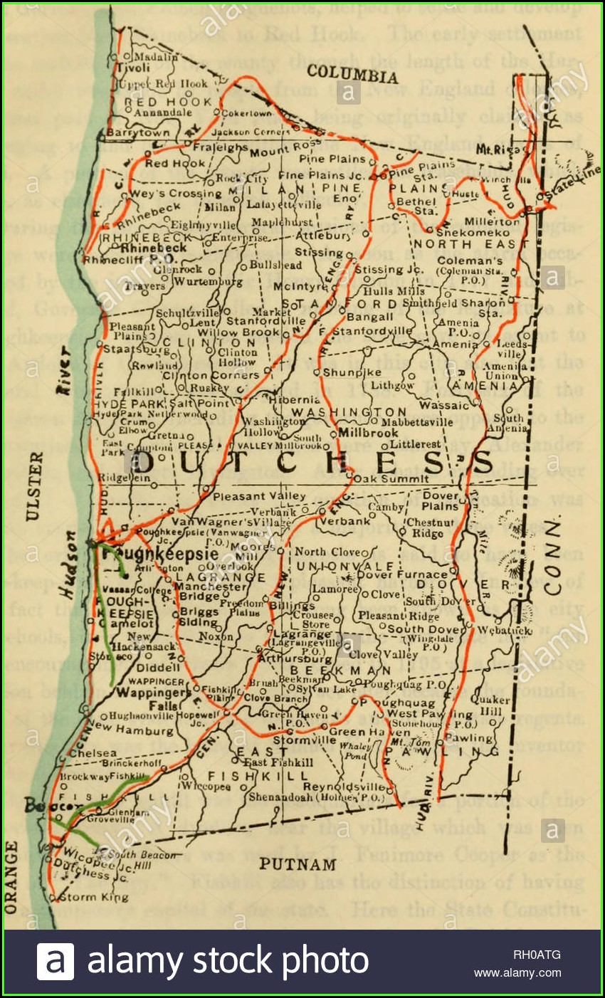 Road Map Of Dutchess County New York