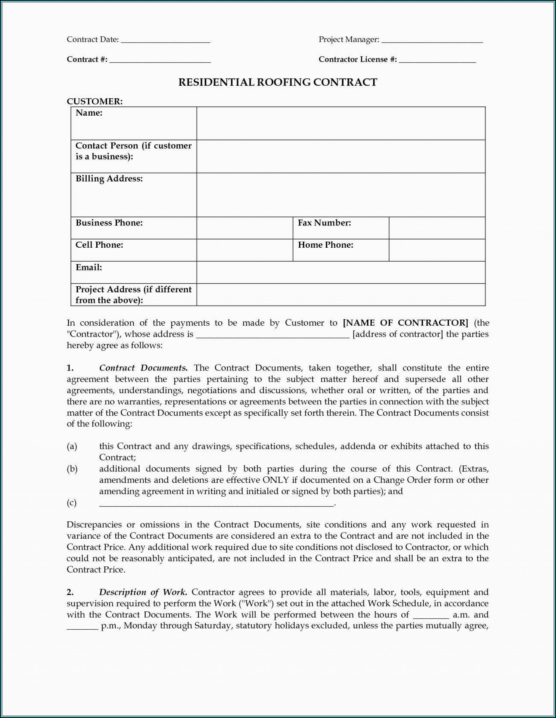 Roofing Contract Template Pdf