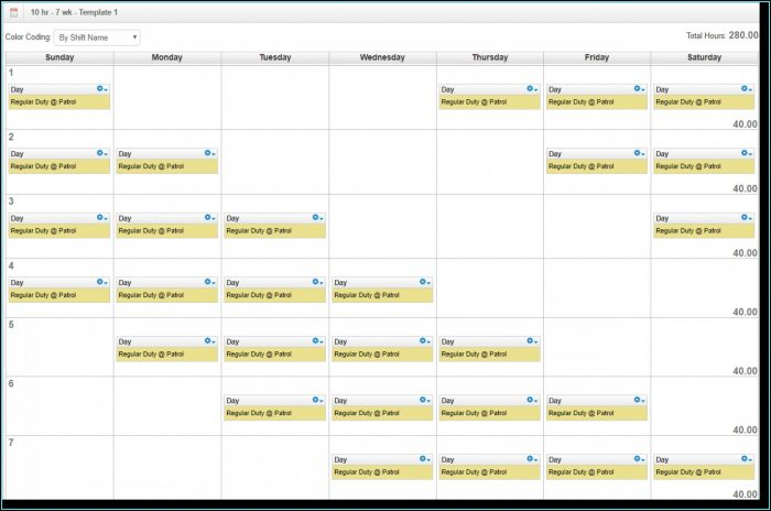 Rotating Shift Calendar Template