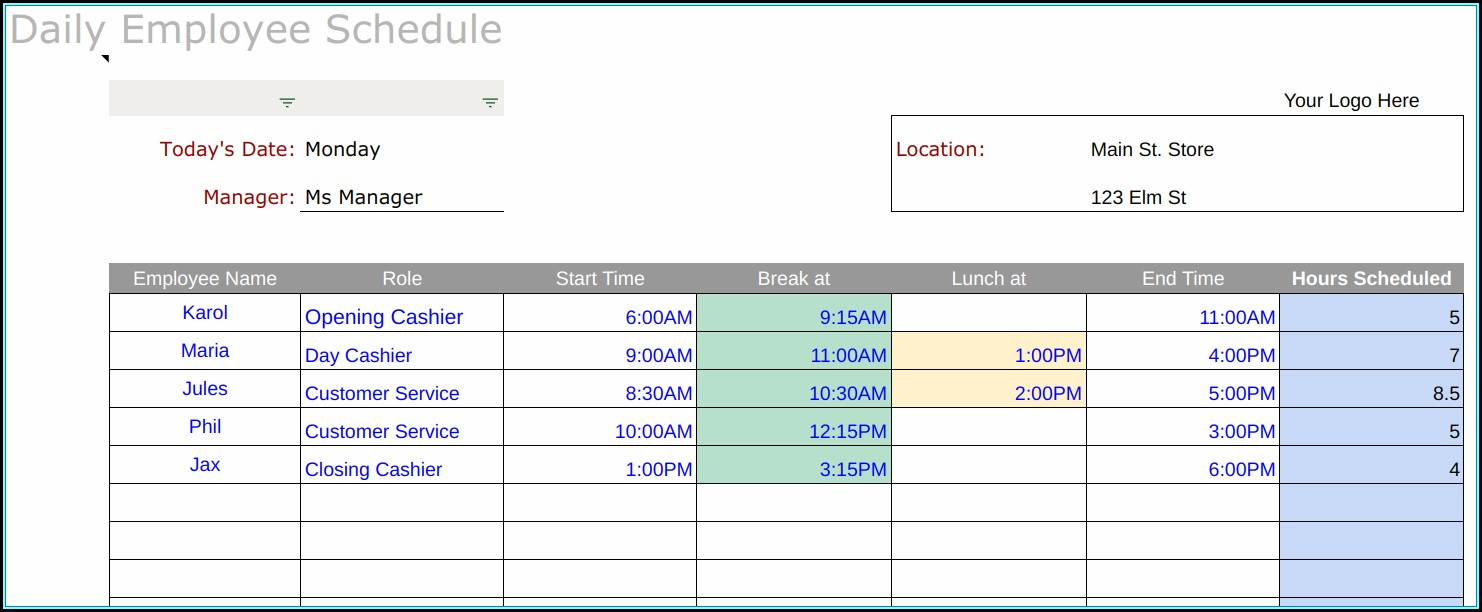 Rotating Shift Schedule Template Excel