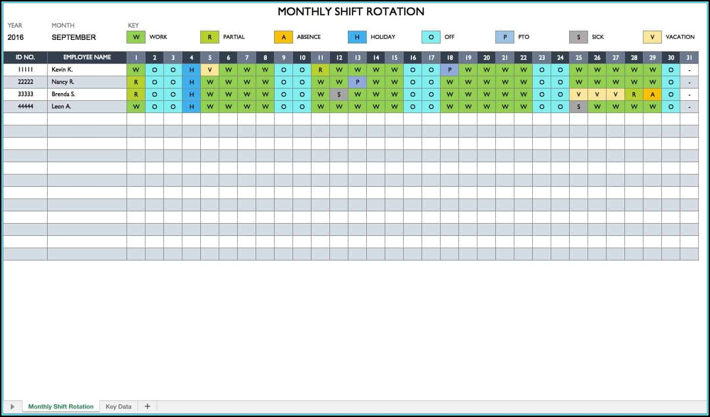 Rotating Shift Schedule Template Free