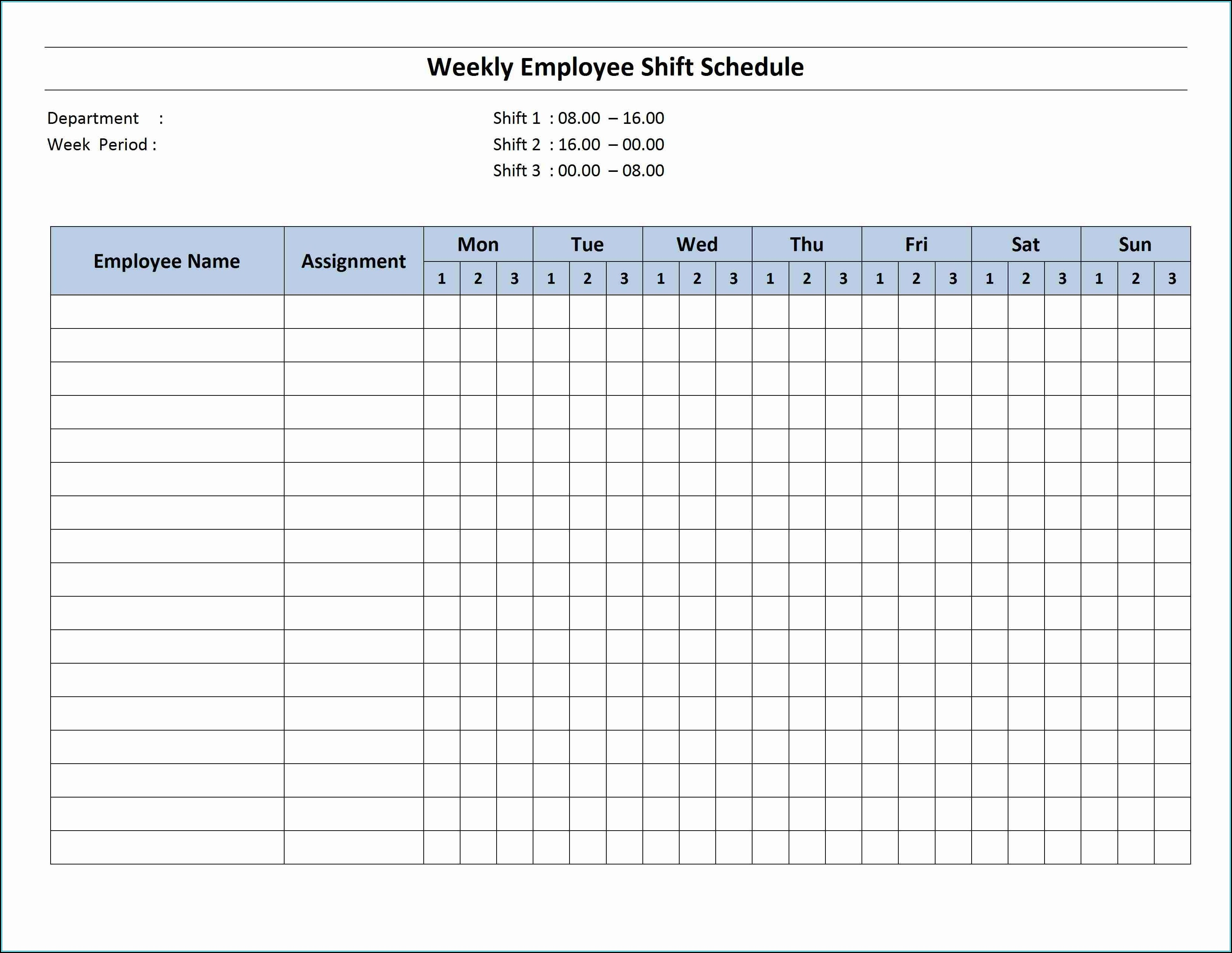 Rotating Work Schedule Template