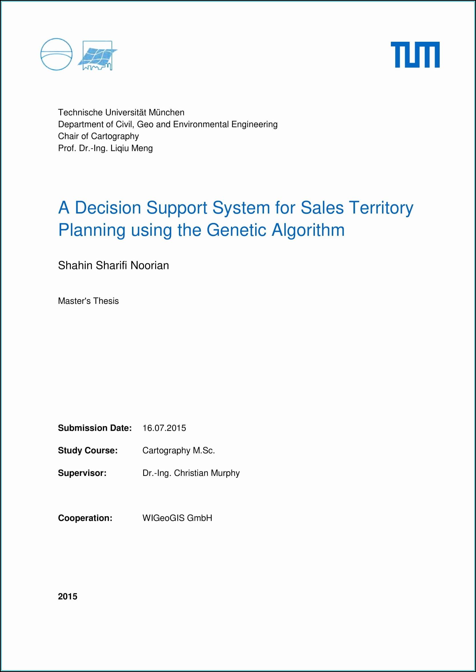Sales Territory Plan Example