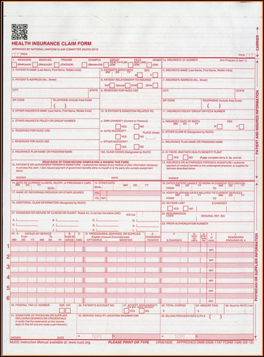 Sample Hcfa 1500 Claim Form Instructions
