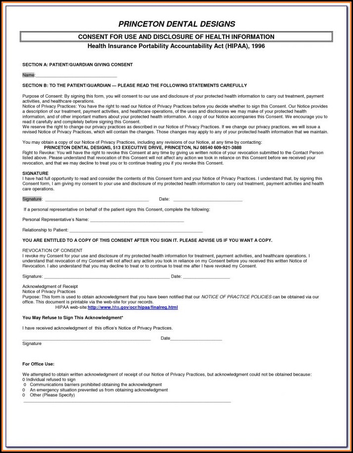 Sample Hipaa Form For Counselors