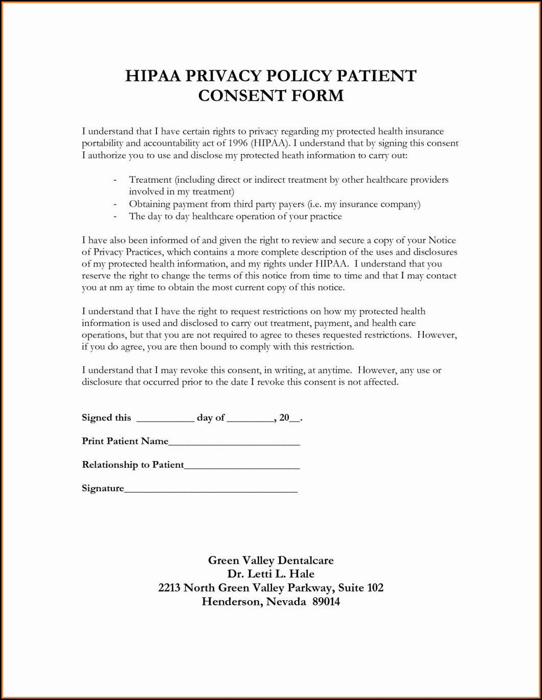 Sample Hipaa Form For Patients