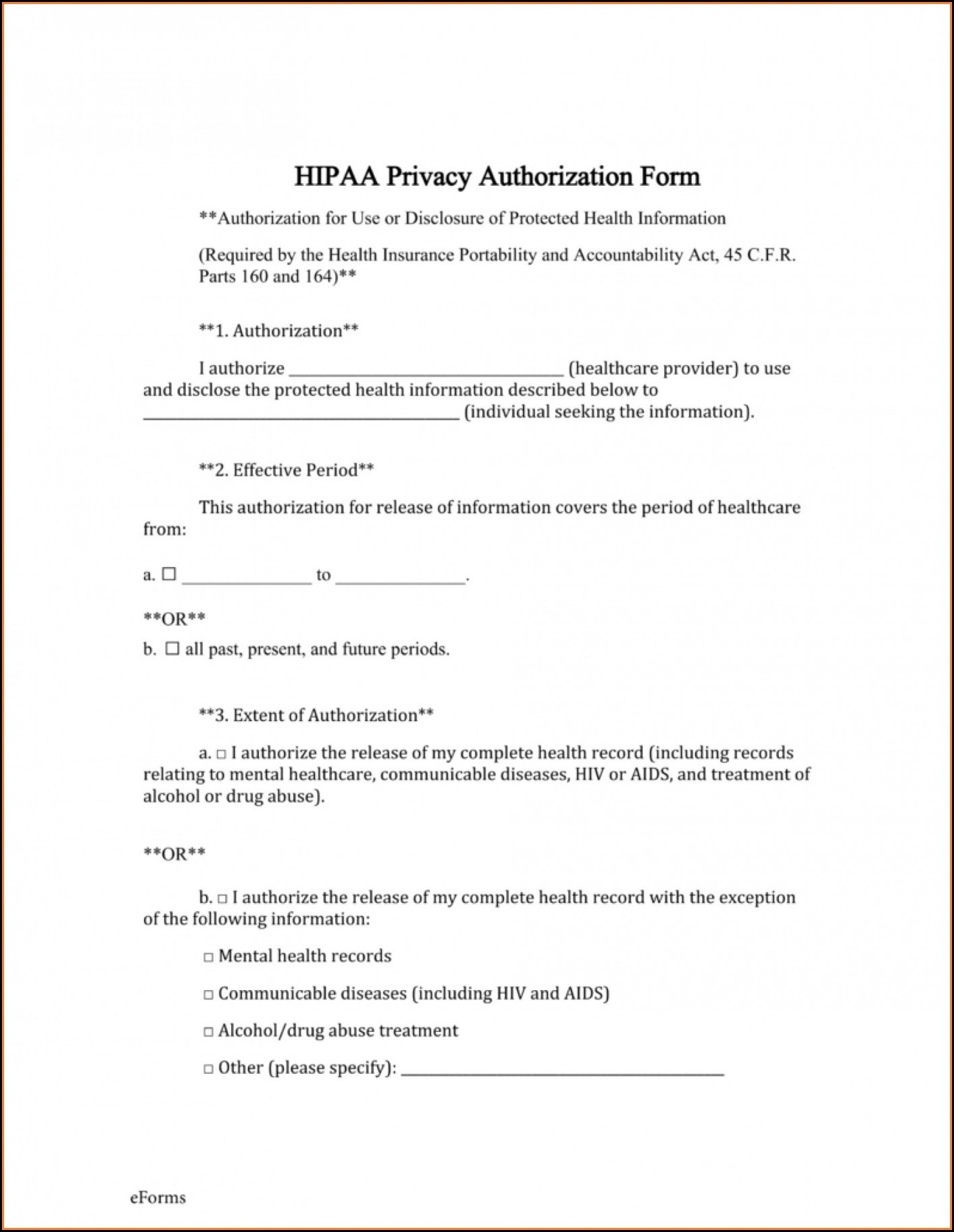 Sample Hipaa Forms Mental Health
