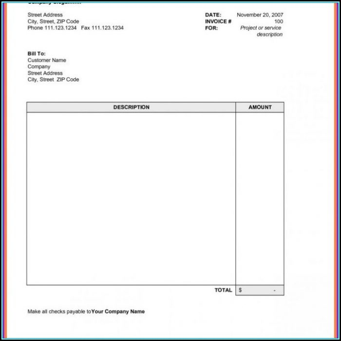 Sample Invoice Template Word Free