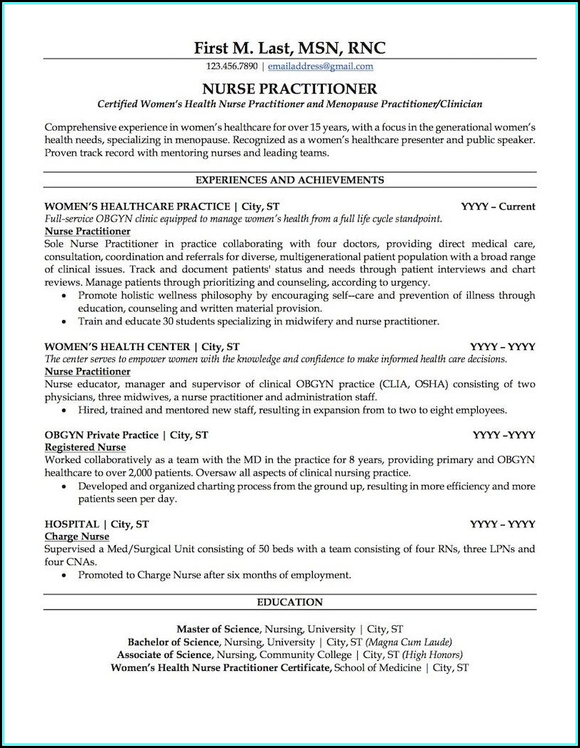 Sample Nurse Practitioner Resume Template