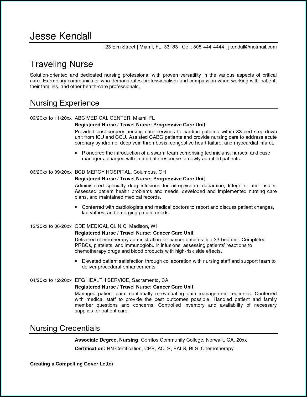 Sample Nursing Resume Templates