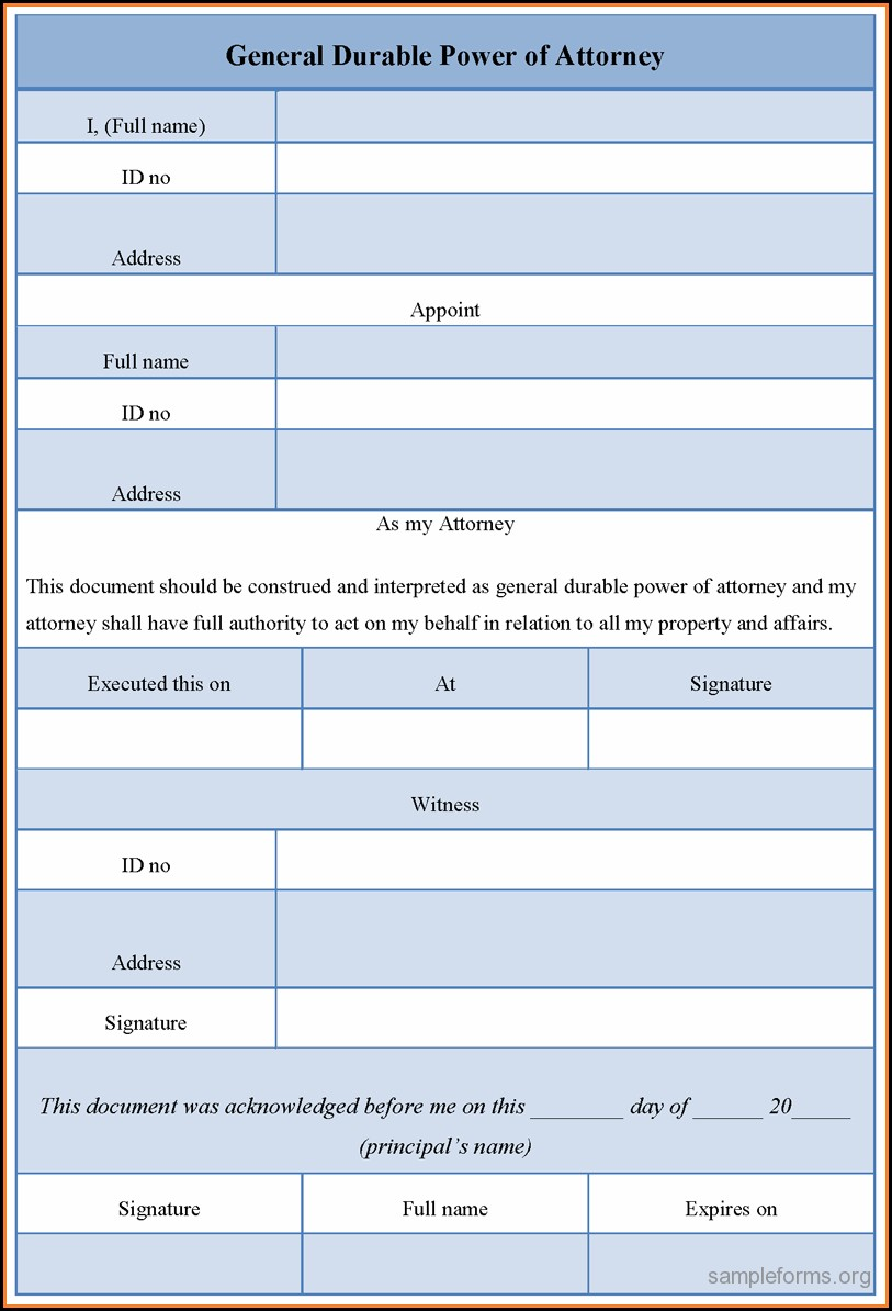 Sample Of Durable Power Of Attorney Form