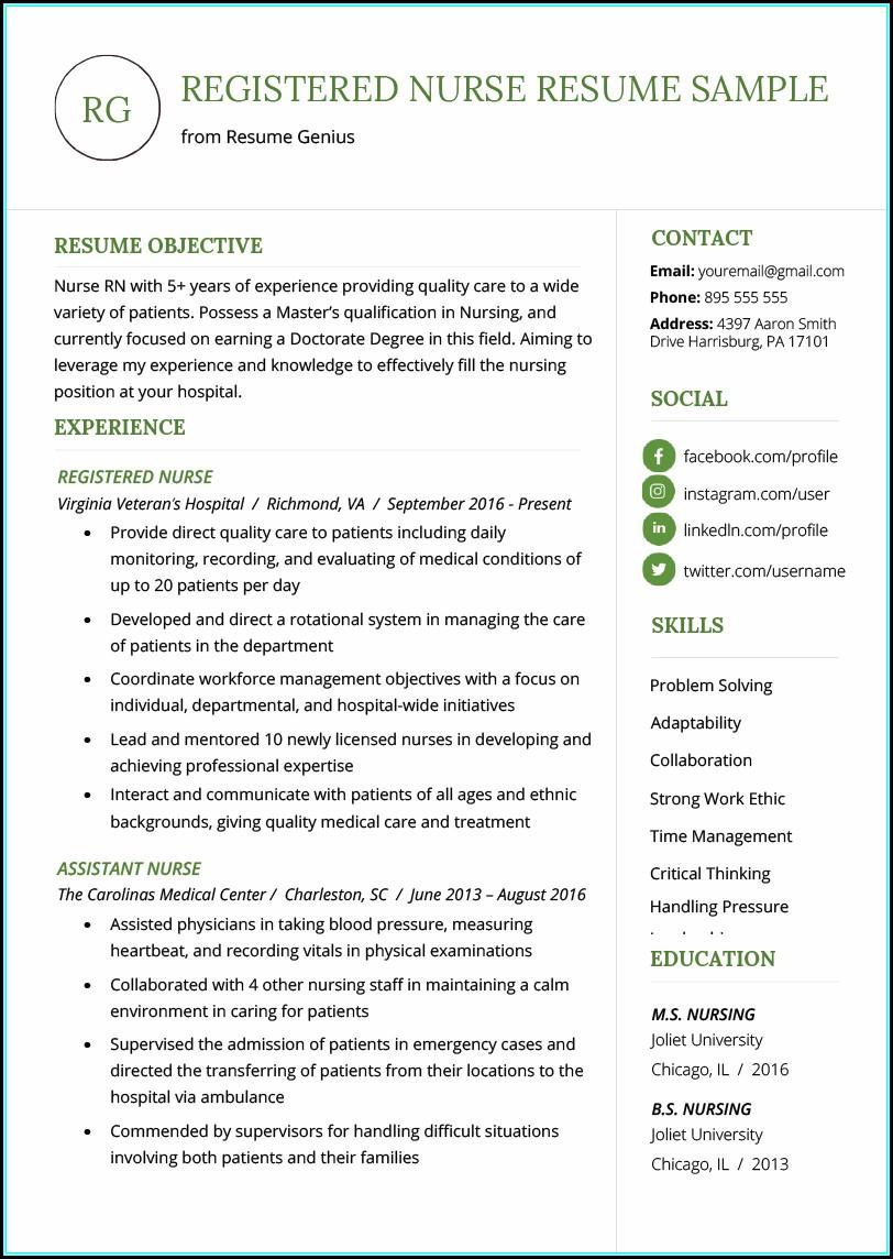 Sample Of New Rn Resume