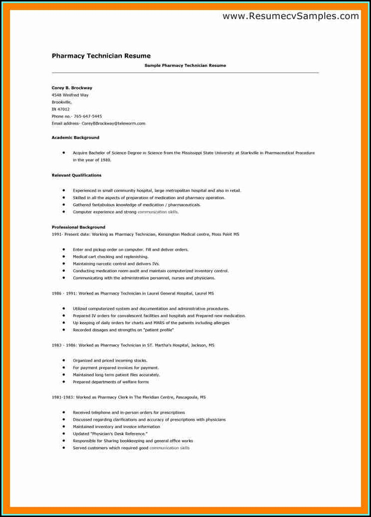 Sample Resume For A Pharmacy Technician