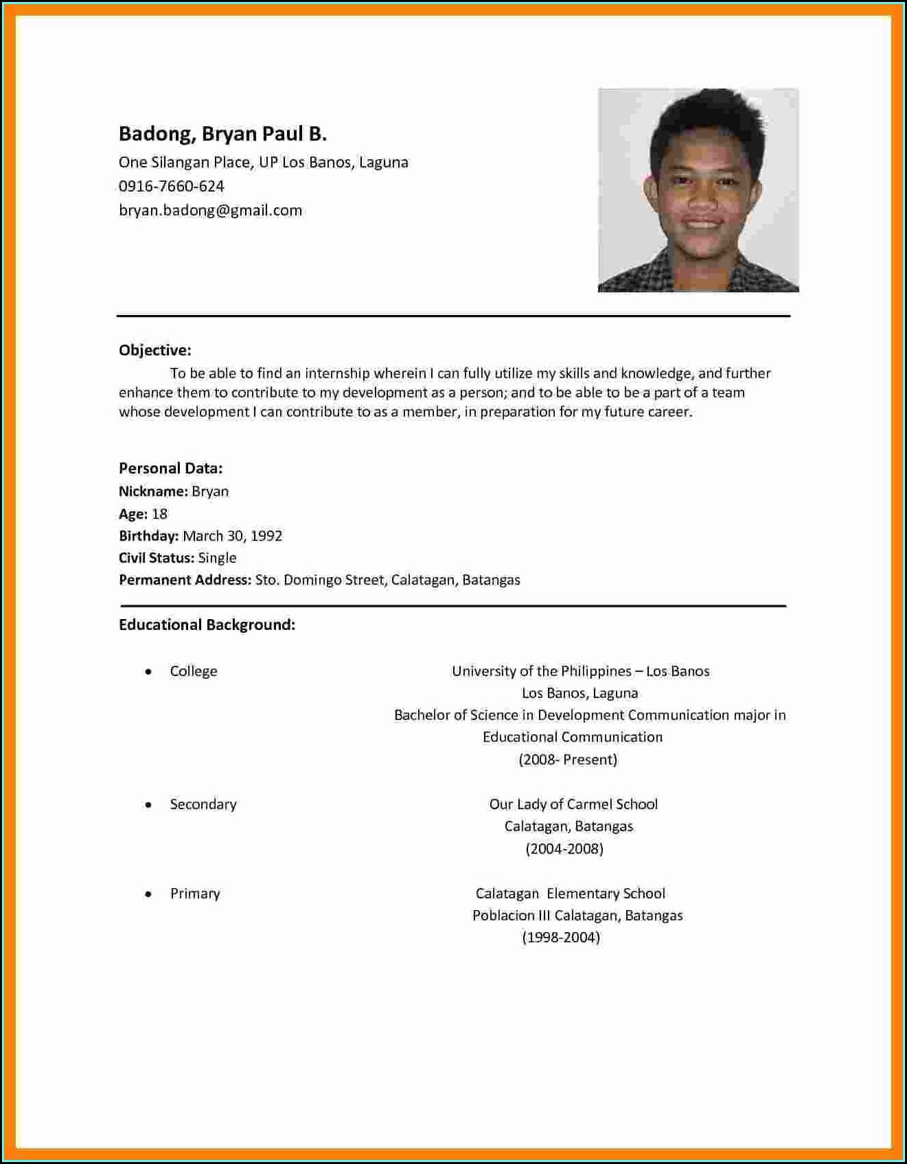 Sample Resume For Job Application Pdf