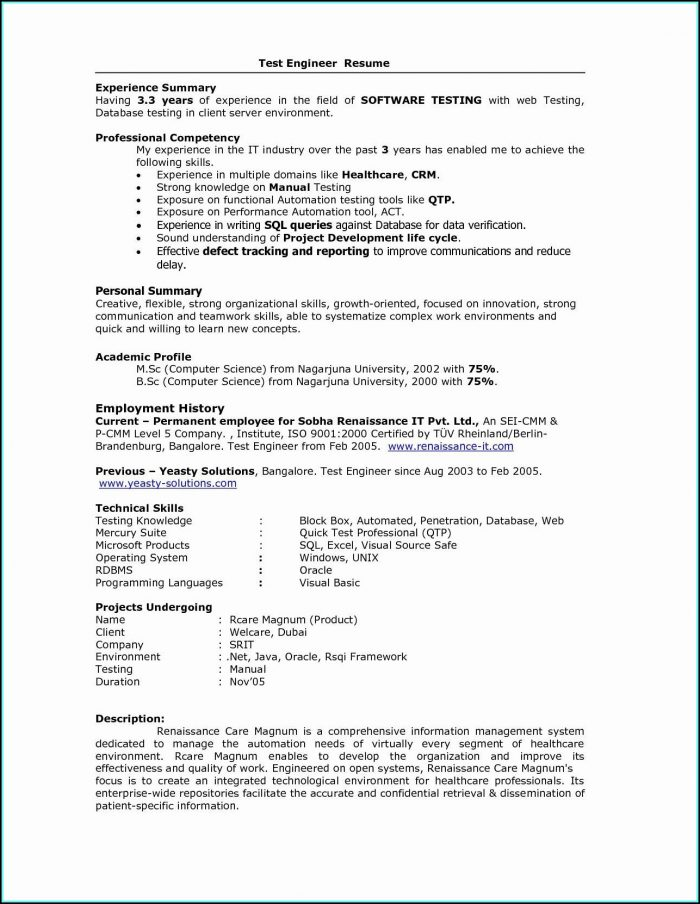 Sample Resume For Job Experience