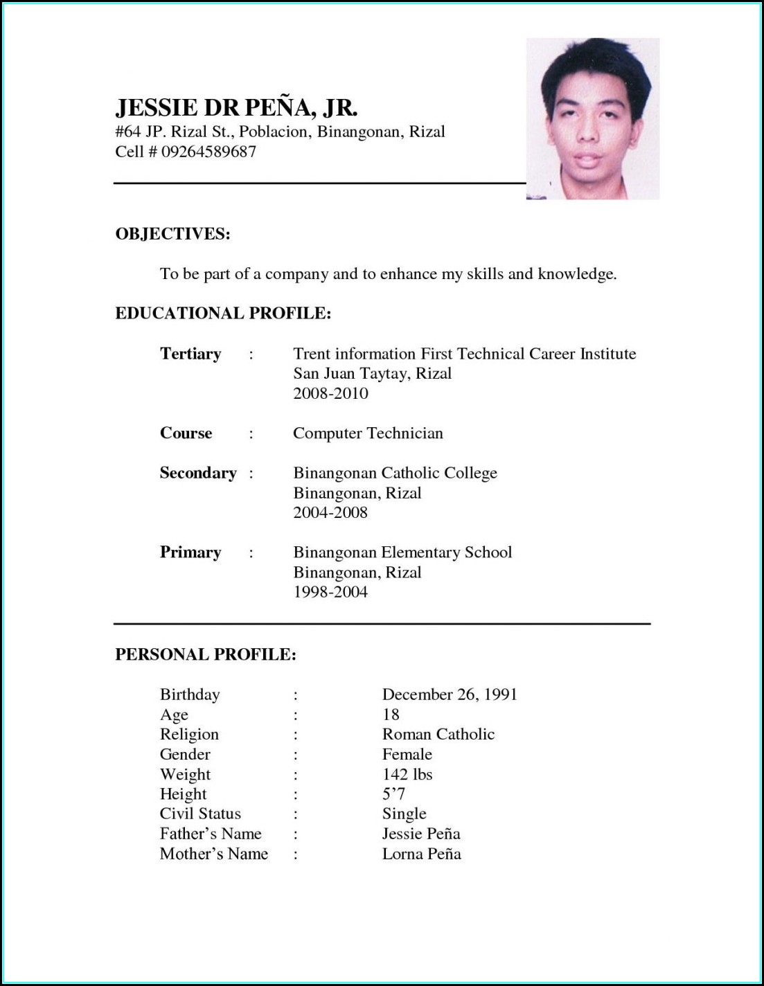 Sample Resume For Jobs In Australia